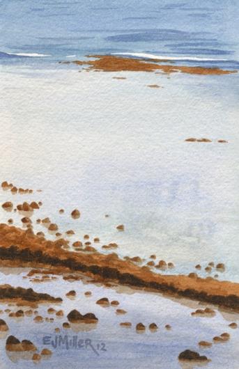 Kapaa Reef, Makai — Kauai beaches - kapaa, ocean, reef artwork by Emily Miller