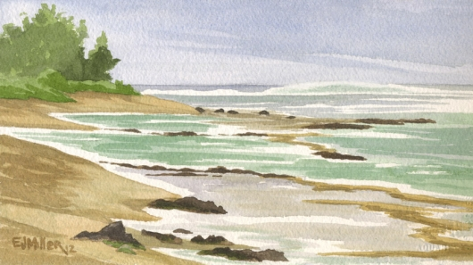 Reef at Haena Point Kauai watercolor painting - Artist Emily Miller's Hawaii artwork of Haena, north shore Kauai beach, Haena beach art