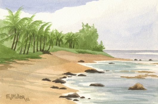Plein Air at Haena Point Kauai watercolor painting - Artist Emily Miller's Hawaii artwork of palm trees, ocean, beach, haena art