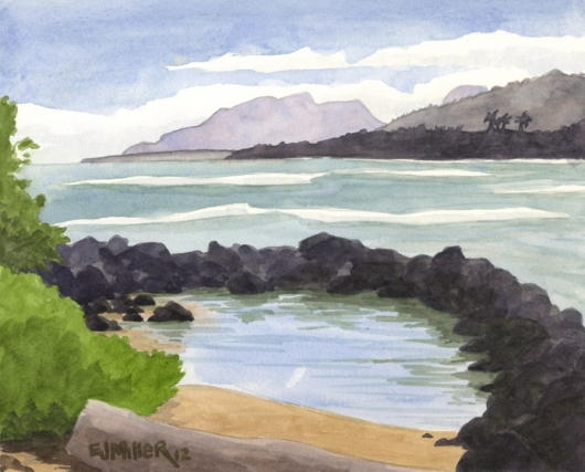 Plein Air at Lae Nani beach, Makai — Kauai beaches - kapaa, beach, ocean artwork by Emily Miller