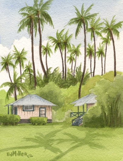 Two Cottages Next Door Kauai watercolor painting - Artist Emily Miller's Hawaii artwork of house, waimea plantation cottages, waimea, palm trees art