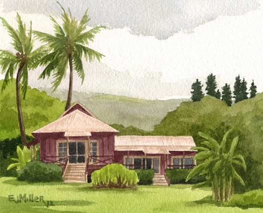 Red Cottages Kauai watercolor painting - Artist Emily Miller's Hawaii artwork of palms, palm trees, house, waimea plantation cottages, waimea art