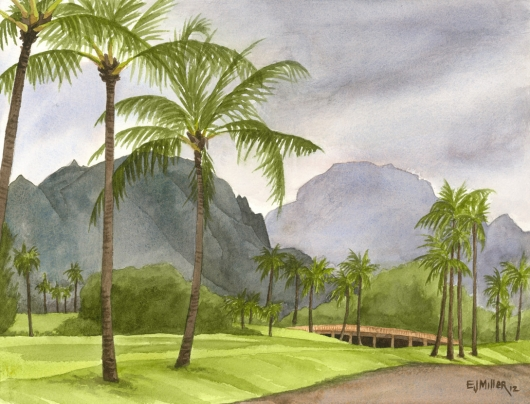 Kauai Artwork by Hawaii Artist Emily Miller - Haupu Mountain from Kalapaki bluff