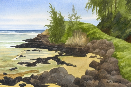 Anini Cove Kauai watercolor painting - Artist Emily Miller's Hawaii artwork of beach, anini beach, ocean art