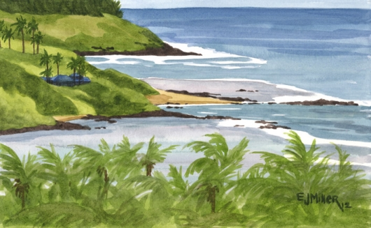 North from Anahola Kauai watercolor painting - Artist Emily Miller's Hawaii artwork of aliomanu, palm trees, anahola, ocean, beach art