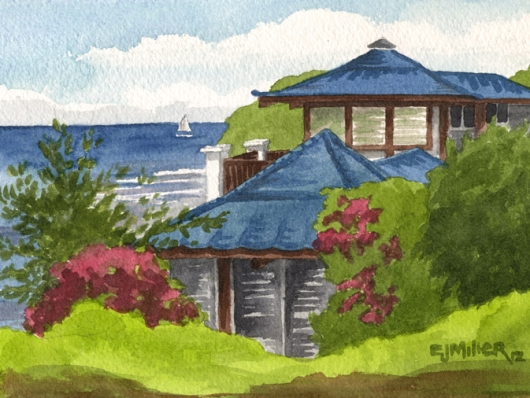Blue Roofs Kauai watercolor painting - Artist Emily Miller's Hawaii artwork of sailboat, house, anahola, aliomanu, ocean art