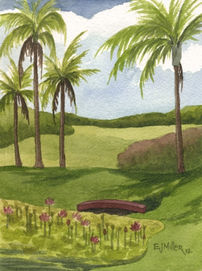 Lotus Pond, Poipu Kauai watercolor painting - Artist Emily Miller's Hawaii artwork of flowers, palms, palm trees, lotus, pond, bridge, poipu, NTBG art