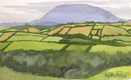 View of the Cooley Mountains from Meath Hill, Ireland, 2012