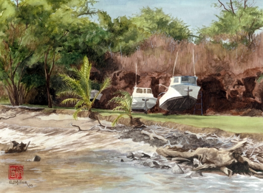 Hanapepe Harbor Kauai watercolor painting - Artist Emily Miller's Hawaii artwork of fishing, boats, beach, ocean, hanapepe art