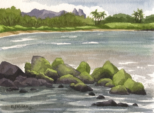 North Lydgate Beach Kauai watercolor painting - Artist Emily Miller's Hawaii artwork of lydgate, beach, ocean, rocks, kalalea art