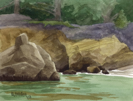 Whaler's Cove detail - Point Lobos, Monterey, California, California -  artwork by Emily Miller