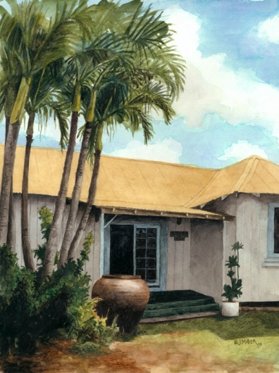 Urn Kauai watercolor painting - Artist Emily Miller's Hawaii artwork of palms, palm trees, plantation style, house art