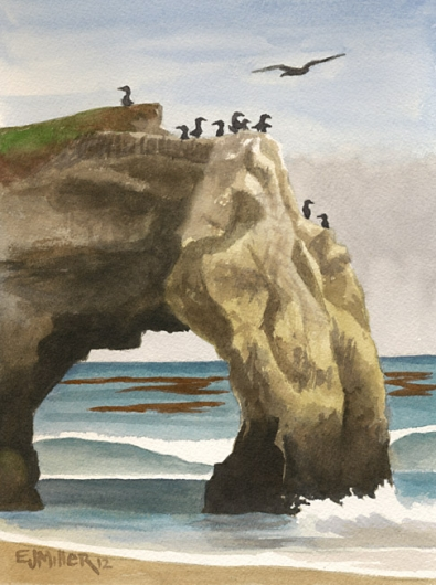 Arch at Natural Bridges, Santa Cruz, California -  artwork by Emily Miller