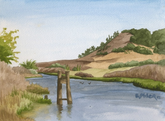 Petaluma River at Steamer Landing Park, California -  artwork by Emily Miller