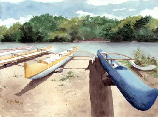 Waimea Outriggers Kauai watercolor painting - Artist Emily Miller's Hawaii artwork of boats, waimea, canoes, river, beach art