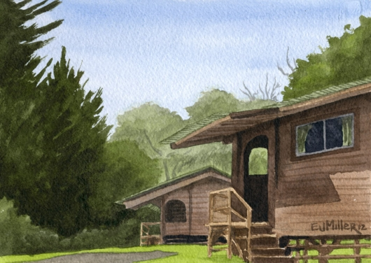 Kokee Cabins Kauai watercolor painting - Artist Emily Miller's Hawaii artwork of house, kokee, forest art