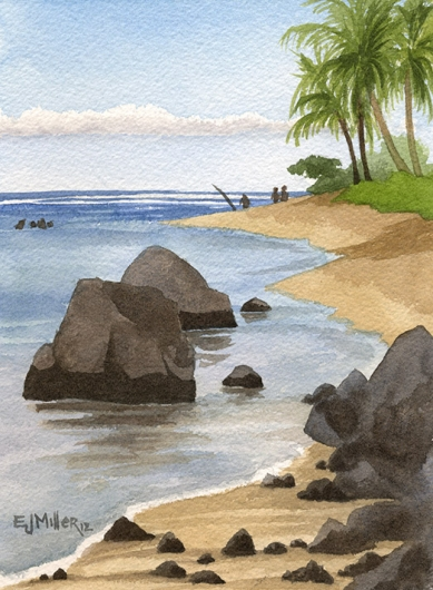 Anini Beach Calm Kauai watercolor painting - Artist Emily Miller's Hawaii artwork of anini beach, beach, palm trees, fishing, fisherman, ocean art