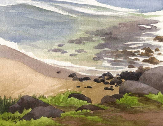 Donkey Beach shallows Kauai watercolor painting - Artist Emily Miller's Hawaii artwork of beach, ocean, kealia, kapaa art
