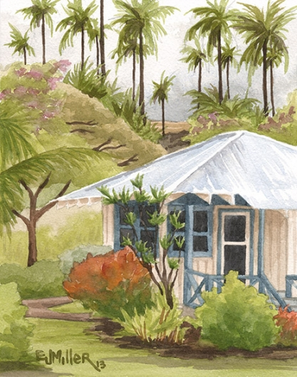 Garden Cottage Kauai watercolor painting - Artist Emily Miller's Hawaii artwork of house, waimea plantation cottages, waimea, palm trees art