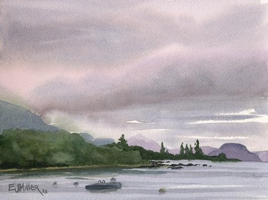 Dusk at Pukawa Bay, New Zealand -  artwork by Emily Miller