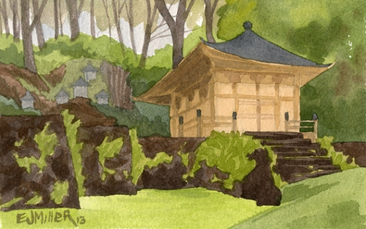 Hall of Compassion, Lawai International Center Kauai watercolor painting - Artist Emily Miller's Hawaii artwork of buddhist art
