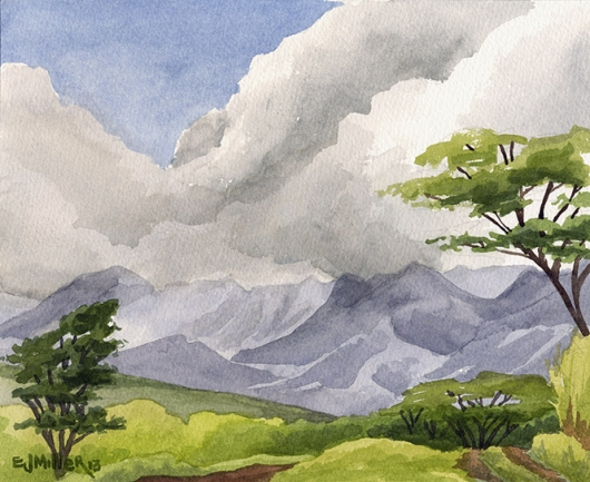 Mountain View from Three Corner Ranch Kauai watercolor painting - Artist Emily Miller's Hawaii artwork of mountains, lihue art