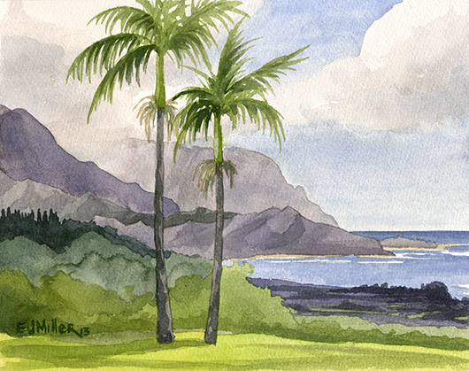 Kauai Artwork by Hawaii Artist Emily Miller - Hanalei Bay from Po'oku
