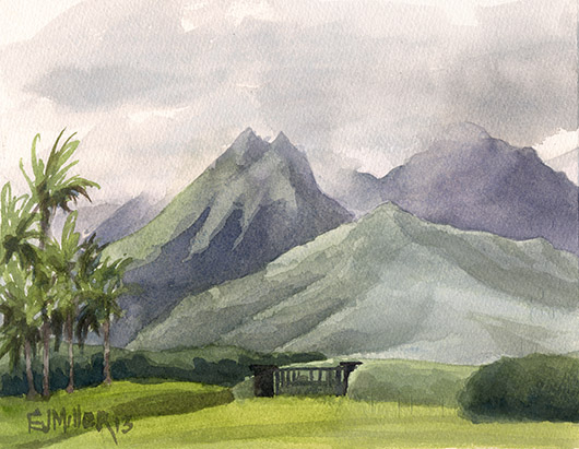 Hanalei Mountains from Po'oku Kauai watercolor painting - Artist Emily Miller's Hawaii artwork of princeville, pooku, mountains art
