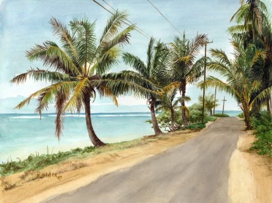 Anini Beach Road Kauai watercolor painting - Artist Emily Miller's Hawaii artwork of palms, palm trees, beach, ocean, anini beach art