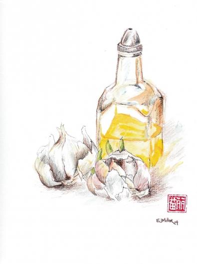 Still Life, Garlic & Olive Oil, 2004 •