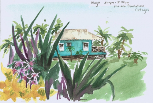 Blue Cottage at Waimea Plantation Cottages - Pochade Challenge Kauai watercolor painting - Artist Emily Miller's Hawaii artwork of house, waimea plantation cottages, waimea art