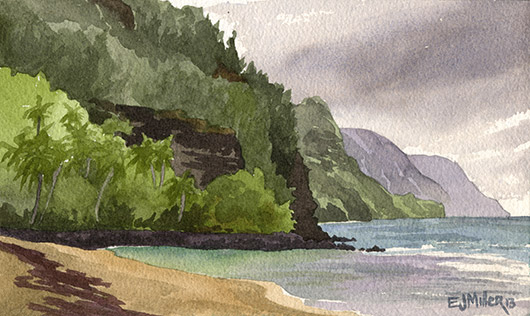 Ke'e Beach lagoon Kauai watercolor painting - Artist Emily Miller's Hawaii artwork of haena, beach, ocean, cliffs, na pali, palm trees, palms, ke'e beach art