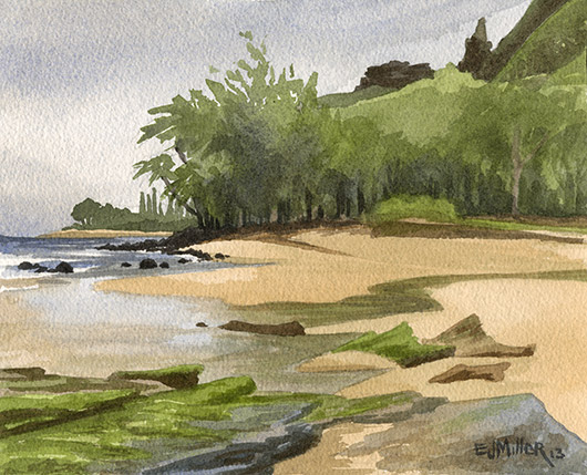 Low Tide at Haena stream Kauai watercolor painting - Artist Emily Miller's Hawaii artwork of Haena, north shore Kauai beach, Kee beach art