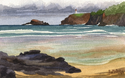Kilauea Lighthouse from Anini Beach Kauai watercolor painting - Artist Emily Miller's Hawaii artwork of kilauea, anini beach, beach, lighthouse, cliffs, ocean art