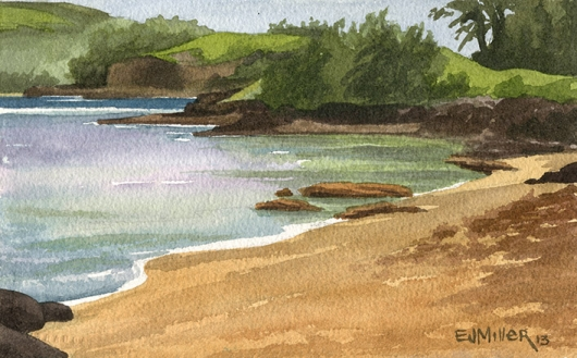 Anini Beach afternoon Kauai watercolor painting - Artist Emily Miller's Hawaii artwork of beach, ocean, anini beach art