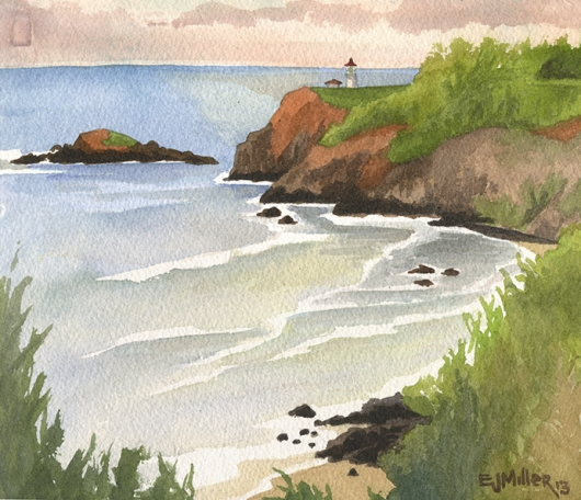 Sunset View, Secret Beach & Kilauea Lighthouse Kauai watercolor painting - Artist Emily Miller's Hawaii artwork of kilauea, lighthouse, beach, ocean, cliffs, sunset art