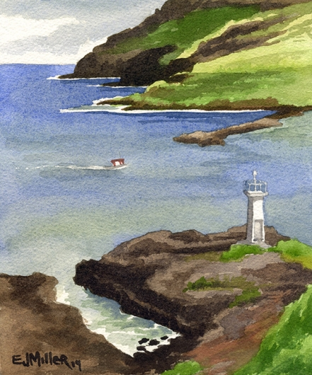 Plein Air at Kalapaki Lighthouse Kauai watercolor painting - Artist Emily Miller's Hawaii artwork of kalapaki, lihue, lighthouse, bay, ocean, cliffs art