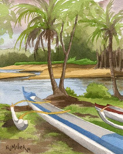 Anahola Canoe Club, plein air Kauai watercolor painting - Artist Emily Miller's Hawaii artwork of anahola, river, beach, ocean, canoes, palm trees art