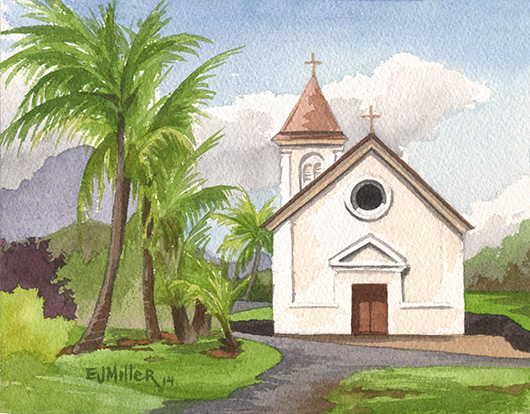 St. Raphael's Church, Koloa Kauai watercolor painting - Artist Emily Miller's Hawaii artwork of church, koloa, palm trees art