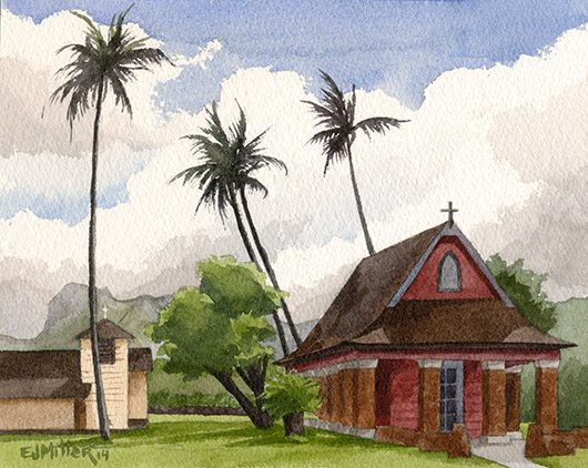 All Saints Episcopal Church, Kapaa Kauai watercolor painting - Artist Emily Miller's Hawaii artwork of church, kapaa art