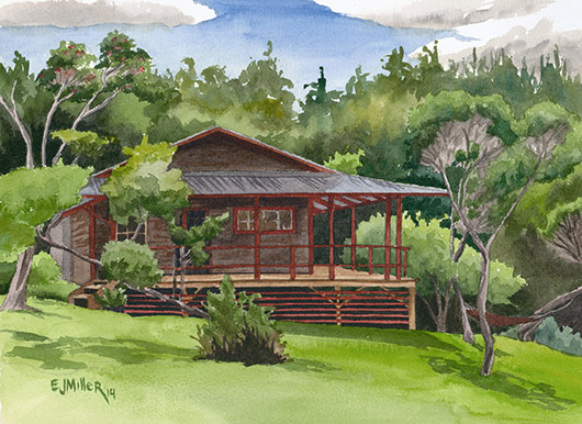 Kokee Cabin Retreat Kauai watercolor painting - Artist Emily Miller's Hawaii artwork of house, kokee, forest art