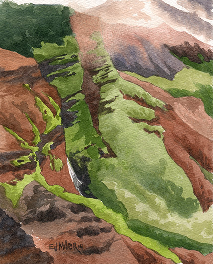 Glimpse of Waipo'o Falls Kauai watercolor painting - Artist Emily Miller's Hawaii artwork of waterfall, waimea canyon, mountains art
