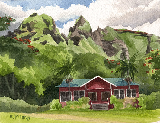 Morning at Anahola Baptist Church Kauai watercolor painting - Artist Emily Miller's Hawaii artwork of kalalea, anahola, church, mountain art