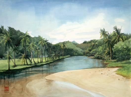Lawai Kai, Makai — Kauai beaches - poipu, beach, stream, palm trees, NTBG, Allerton garden artwork by Emily Miller
