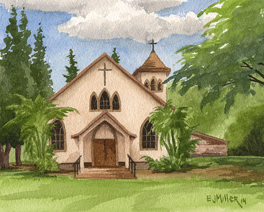Sacred Hearts, Waimea Kauai watercolor painting - Artist Emily Miller's Hawaii artwork of church, waimea art