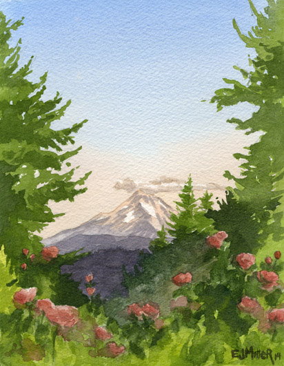 View of Mt. Hood from Portland Rose Garden, Portland - mt hood, roses artwork by Emily Miller