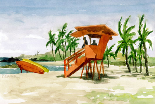Salt Pond Lifeguard Kauai watercolor painting - Artist Emily Miller's Hawaii artwork of palm trees, surfboard, lifeguard, salt pond, beach, ocean art