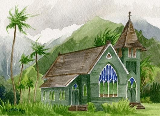Wai'oli Church, Hanalei, La'a o ke akua — Kauai churches - church, green, hanalei, mountains, palm trees artwork by Emily Miller