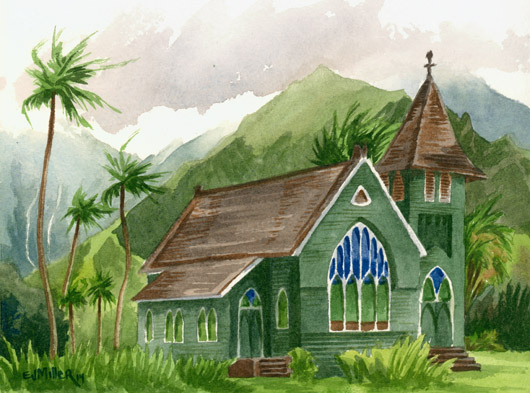 Kauai Artwork by Hawaii Artist Emily Miller - Wai'oli Hui'ia Church