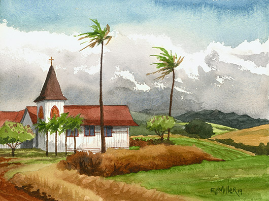 West Kauai Methodist Church, Kaumakani Kauai watercolor painting - Artist Emily Miller's Hawaii artwork of church art